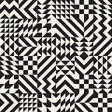 Vector Seamless Black and White Irregular Geometric Blocks Pattern