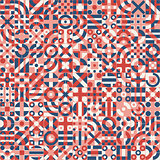 Vector Seamless Red Blue White Irregular Geometric Blocks Pattern