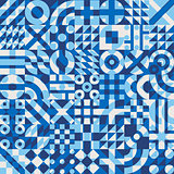 Vector Seamless Blue White Overlay Irregular Geometric Blocks Pattern