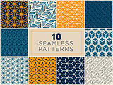Set of Ten Vector Seamless Hand Drawn Geometric Line Patterns