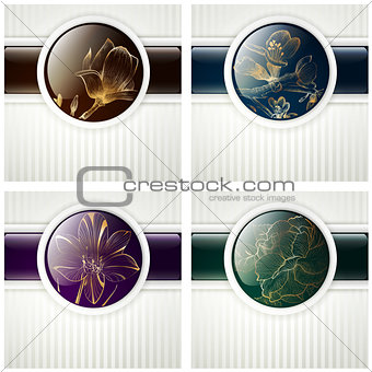 Abstract Flower Design Set