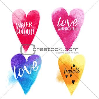 Watercolour Vector Hearts
