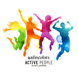 Watercolour Jumping People Vector