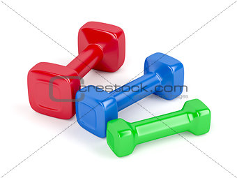 Three different dumbbells