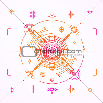 Modern thin line space design. Outline cosmic symbol. Simple mono linear abstract illustration. Stroke vector logo concept for web graphics.