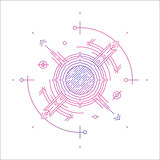 Colorful line geometric futuristic graphic design. Sci-Fi cosmic linear logo. Hipster t-shirt illustration concept.