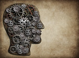 Head made from gears and cogs. Brain activity, idea concept.