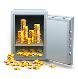 Safe full of gold coins money