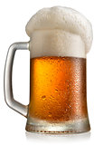 Frosty beer in mug