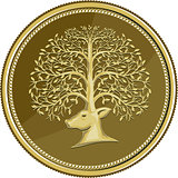 Deer Head Tree Antler Gold Coin Retro