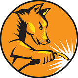 Dingo Dog Welding Circle Retro
