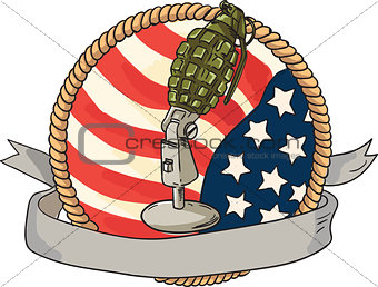 Grenade Microphone USA Flag Circle Retro