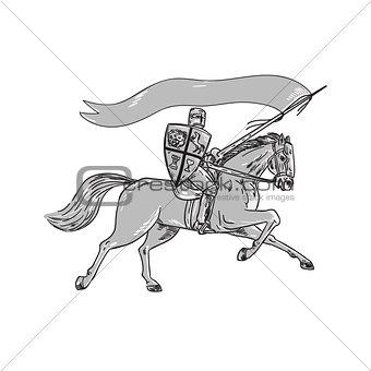 Knight Riding Horse Shield Lance Flag Retro