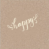 Handdrawn lettering of the word happy with decorative elements on a pleasant beige background.
