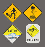 Jellyfish caution signs