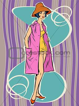 Beautiful retro girl in the sun hat