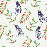 Seamless plant background. Endless vector pattern with colorful branches camu camu, goji and acai