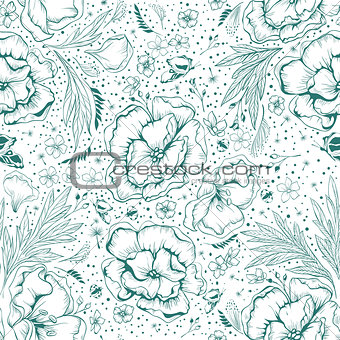 Green flowers. Seamless floral background