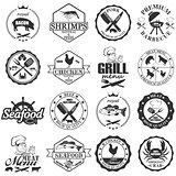 set of seafood labels and butcher shop labels.
