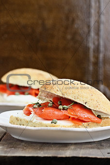 Ciabatta with Salmon and Cream Cheese