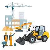 Construction site with crane and wheel loader