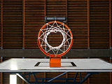 Indoor basketball hoop from below