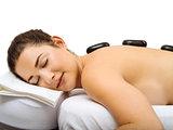 Hot stone massage happiness