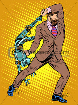 Cyclops businessman against a robot