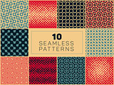 Vector Seamless Geometric Halftone Retro Patterns