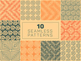Vector Seamless Hand Drawn Geometric Patterns