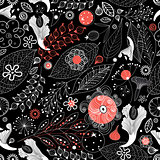 Seamless graphic floral pattern