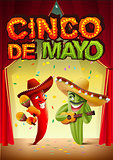 Cinco de Mayo. Mexican cactus in sombrero playing guitar. Red pepper and maraca. Greeting card template