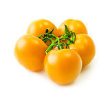 Bunch of yellow tomato over white background