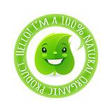 Green Label with Cartoon Leaf