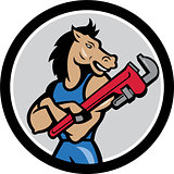 Horse Plumber Monkey Wrench Circle Cartoon