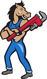Horse Plumber Monkey Wrench Standing Cartoon