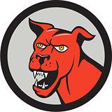 Red Mastiff Dog Mongrel Head Barking Circle Cartoon