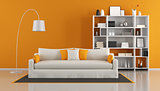 Orange modern living room