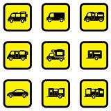 camper car yellow icon set