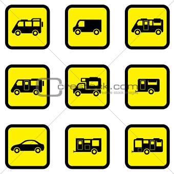 camper car yellow icon set