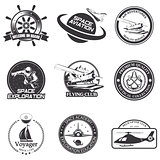 Set of vintage space, nautical, aeronautics flight  emblems