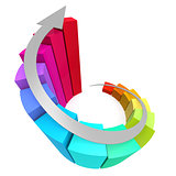 Colorful winding bar chart with arrow