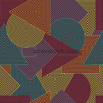 Abstract seamless texture. Vector background with colorful geometric line shapes