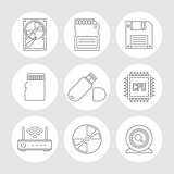 Data storage outline icons