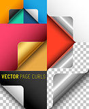 Vector Paper Page Curl Set