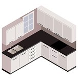 Isometric white kitchen