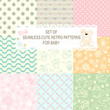 Collection of 9 retro different vector seamless patterns