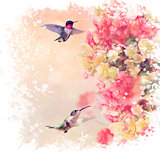 Hummingbirds and Flowers Watercolor