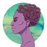 Portrait of serious African American girl with short hair