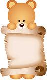 Teddy bear holding a parchment